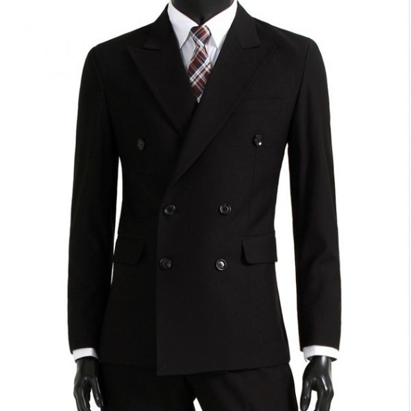 Wool Mix Blend Double Breasted Suit | Rudi Valentino
